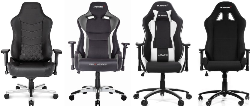 AKRacing chairs like the Onyx, ProX, Nitro or Prime in black and white colours.