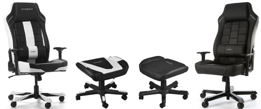 Colour variants of the Boss chair with fitting footrests.