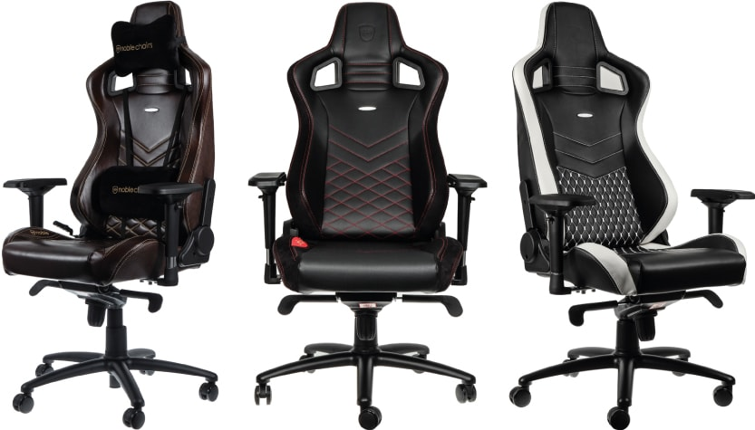 Brown, red, black and white noblechairs seats