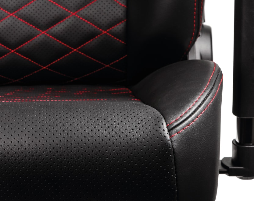 Closeup of the seat's real leather covering