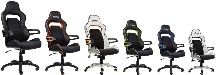 Seven different colour variants of the Evo: black, orange, green, blue, white.