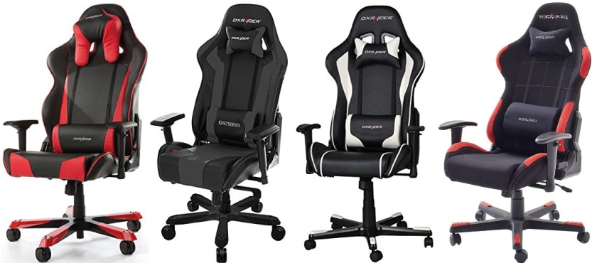 Tested DXRacer chairs: A red Tank, a grey King, a white Formula Series and a red Racer 1.