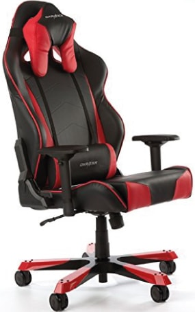 Heavy duty DXRacer chair in red and black faux leather