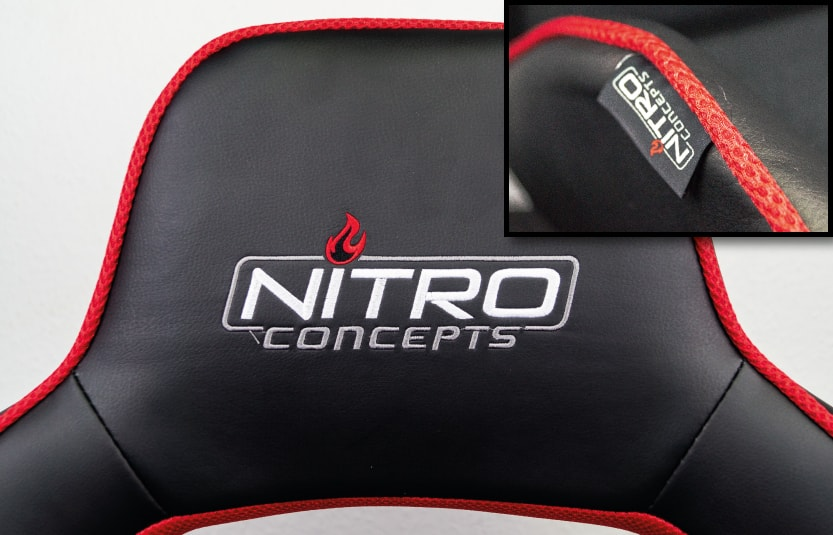 Logos on headrest and side boulders at a close look