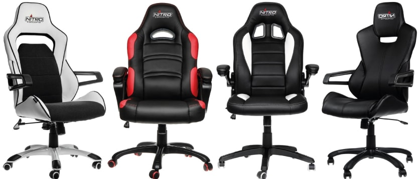 Nitro Concepts chairs in white, red and black
