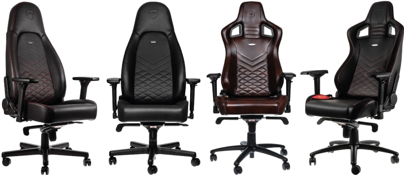 noblechairs seats in different colours from red and brown to black and gold.