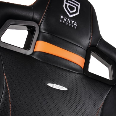 Headrest of the noblechairs Penta Sports edition in black and orange.