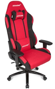 The Prime Series chair in red/black colour at an angle.