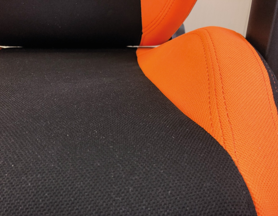 Closeup of the fabric covered seating surface