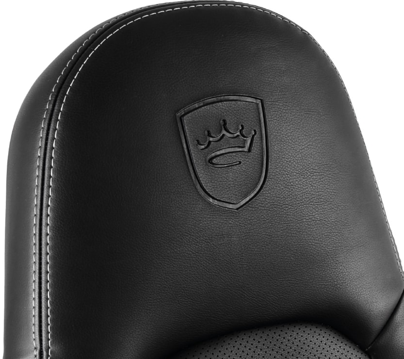 Thickly padded headrest of the ICON with engraved logo
