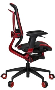 The reviewed Triigger 350SE in black and red colours from the side
