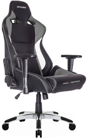 XL seat of AKRacing in black, grey and white design